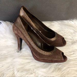 Bandolino brown suede peep toe heels, 8.5M